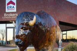 Bison statue in front of ERA Real Estate building in St. George