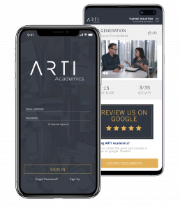 mobile screenshots of ARTI Academics real estate school