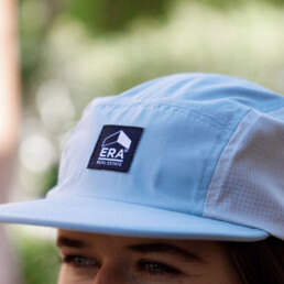 ERA 5 panel hat that is white and light blue